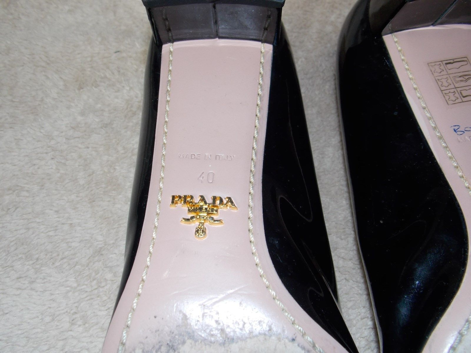 Prada Cut Out Black Patent BRAIDED BOW Kitten Heels Pumps 40 Used