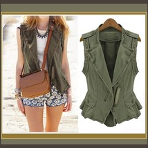 Retro Big Lapel Army Green Denim Rivet Vest with Front Zip Up and  Pockets