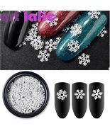 1 Box Nail Art Christmas Snowflake Glitter Mixed 3D Sequins White 3 Designs - $3.67