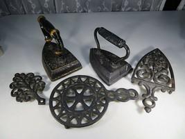 Antique lot of cast iron BÜGELEISEN Modernist ensemble deco Mid Century - $60.00