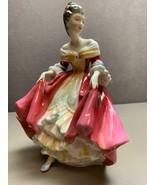 Vintage ROYAL DOULTON Porcelain Figurine SOUTHERN BELLE Red Dress Lady 1... - $74.24