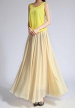 YELLOW High Waist Chiffon Maxi Skirt Women Flowing Long Wedding Bridesmaid Skirt image 3
