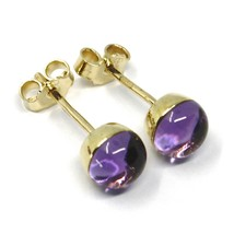 18K YELLOW GOLD BUTTON LOBE EARRINGS, CABOCHON PURPLE AMETHYST DIAMETER 6mm image 2