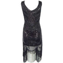 BLACK Retro Style Sleeveless Beaded Sequin Dress Tassel Short Evening Dress NWT image 6