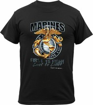 Black US Marines 'First to Fight, Last to Leave T-Shirt - $15.99+