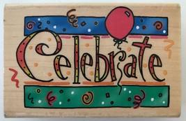 """INKADINKADO Rubber Stamp Celebrate Balloon Confetti 3.5"""" x 2"""" 6359P Kath... - $3.74"""