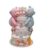 Twins Girl and Boy Cord Diaper Cake 4 Tiers - $165.00