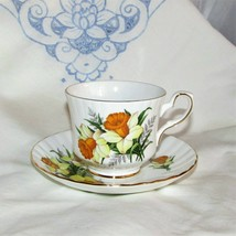 Royal Stafford Bone China Cup & Saucer England Yellow Daffodil Flower Teacup - $14.97