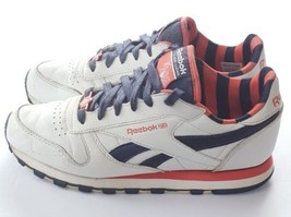 Vtg REEBOK 30TH ANNIVERSARY CLASSIC Women's White Coral Leather Sneakers... - $70.11
