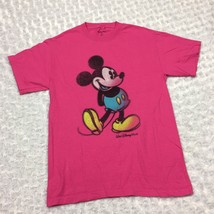 Authentic Walt Disney World 100% Cotton Hot Pink Womens Tshirt w Mickey Mouse - $14.01