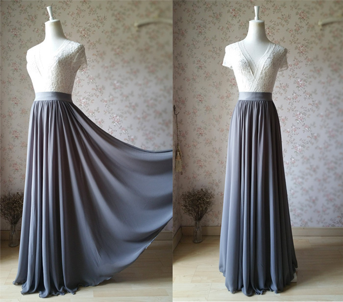 High Waist Chiffon Maxi Skirt GRAY Bridesmaid Chiffon Skirt Summer Wedding Skirt
