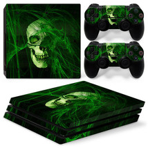 Sony PS4 PRO Green Skull Horror Console & 2 Controllers Decal Vinyl Skin... - $14.82