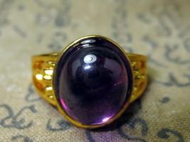 Rare Magic Blessed Purple Naga Eye Stone Gold Ring Charming Thai Buddha Amulets - $7.99