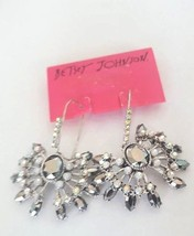 Betsey Johnson White out Crystal Accent Openwork Heart Drop Earrings - $20.88