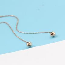 Ear Thread Series 18k Rose Gold Mesh Chain Smooth Ball Dangle Earrings image 3