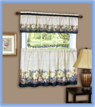 Antique Floralª Kitchen Curtain Tier and Valance Set By Achim Importing Co - $17.77