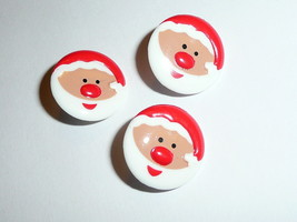 "Jolly Santa Claus Round Plastic Shank Buttons (3) Buttons 11/16"" Christm... - $7.91"