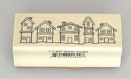 A Muse Artstamps Winter Houses Wood Mounted Rubber Stamp