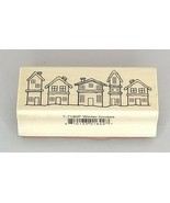 A Muse Artstamps Winter Houses Wood Mounted Rubber Stamp - $7.15