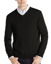 Calvin Klein Extra Fine Merino Wool Sweater, V-Neck, Black, Size M - $21.77