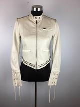 Free People Moto Jacket 2 XS Ivory Vegan Faux Leather Studded Lace Up Sl... - $79.99