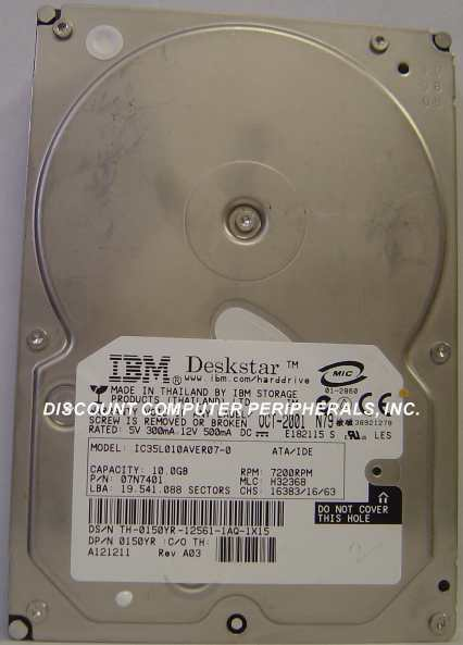 "IC35L010AVER07-0 10GB 3.5"" IDE Drive Tested AS IS"
