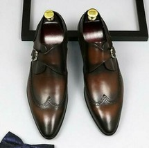 Handmade Men Brown Leather Wing Tip Monk Strap Dress/Formal Shoes image 5