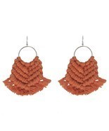Cpop Vintage Boho Macrame Earrings Ethnic Feather Fringe Tassel Earring ... - $29.44 CAD