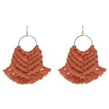 Cpop Vintage Boho Macrame Earrings Ethnic Feather Fringe Tassel Earring ... - £17.61 GBP