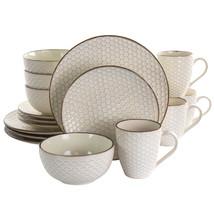 Elama Honey Ivory 16 Piece Stoneware Dinnerware Set in Ivory - $103.62