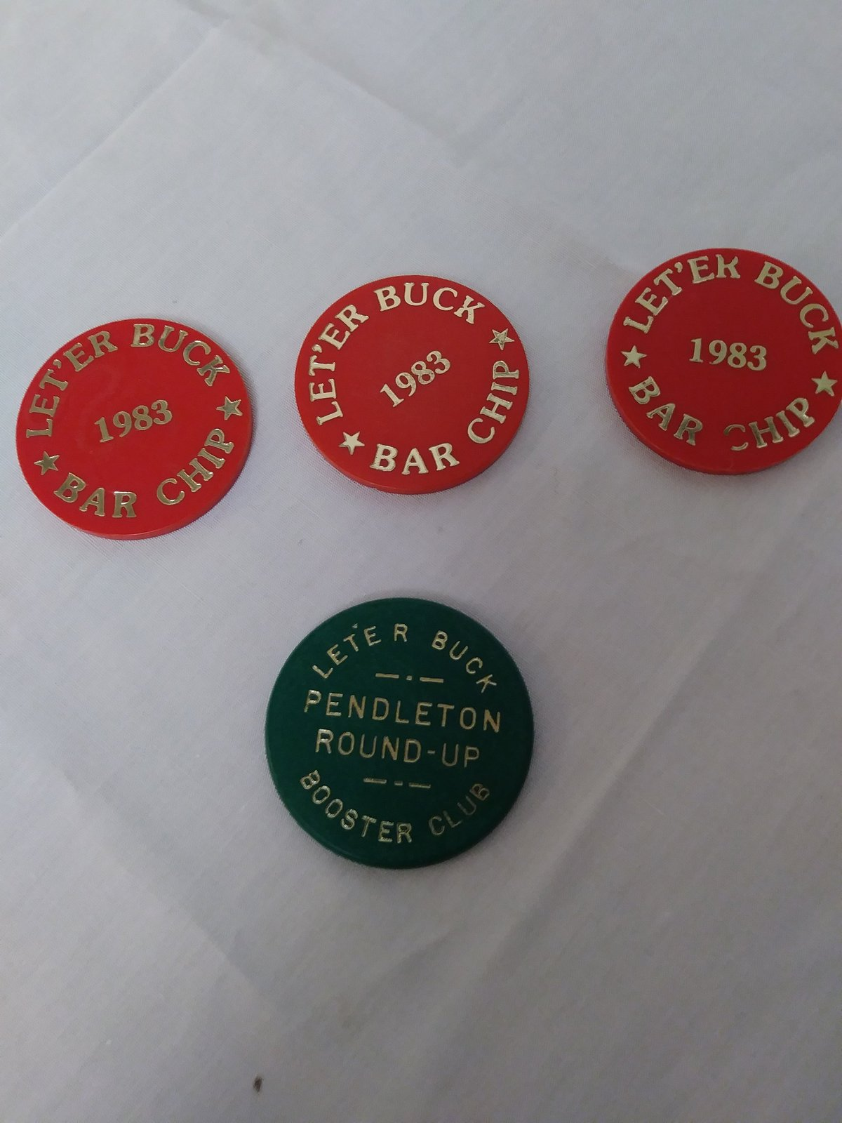 Vintage LET'ER BUCK  1983 Bar Chips Pendleton Round-Up Annual Sept. Event Bar Ch