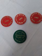 Vintage LET'ER BUCK  1983 Bar Chips Pendleton Round-Up Annual Sept. Event Bar Ch image 1