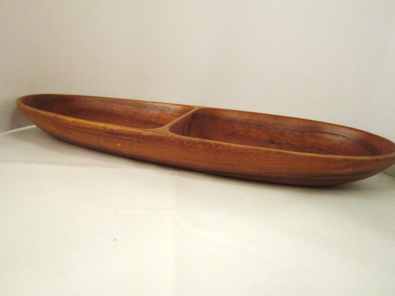 Vintage Woodenware Tray and Napkin Rings, Divided Tray Hand Crafted