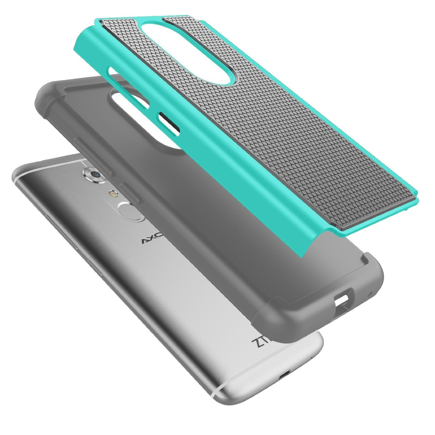 Hybrid Armor Dual Layer Protective Cover Case for ZTE Axon 7 - Cyan&Gray