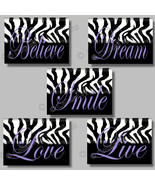 PURPLE ZEBRA Print Wall Art Girl Room Decor Dorm LIVE SMILE LOVE BELIEVE... - $19.99