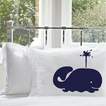 One Nautical Navy Blue Spouting Whale Pillocase pillow case covers - $15.98
