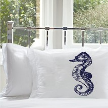 One Navy Blue Sea Horse White Nautical Pillowcase cover pillow case - $15.98