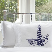 One Navy Blue Striped Lighthouse Standard Pillo... - $15.98