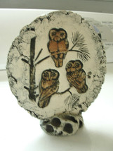 Decorative round stone owl, hand painted beautiful collectible bird on s... - $33.25