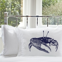 One Navy Blue Fiddler Crab Pillowcase pillow case cover standard nautical - $15.98