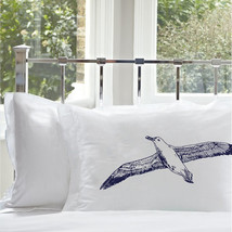 One Navy Blue Sea Gull bird Seagull Nautical Pillowcase pillow cover - $15.98