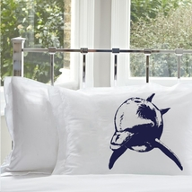 One Navy Blue Bottle Nose Dolphin White Nautical Pillowcase pillow cover  - $15.98