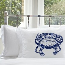 One Navy Blue Crab White Nautical Standard Pillowcase pillow cover case - $15.98