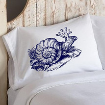 Two for 25 SNAIL creature Navy Blue deep sea tales decor Pillowcase pillow cover - $23.98