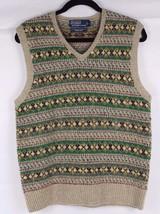 Vintage Polo Ralph Lauren men's wool sweater vest hand knit multicolor s... - $37.15