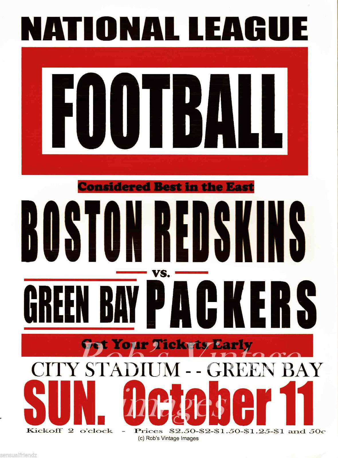 Green Bay Packers vs Boston Redskins Poster and 16 similar items