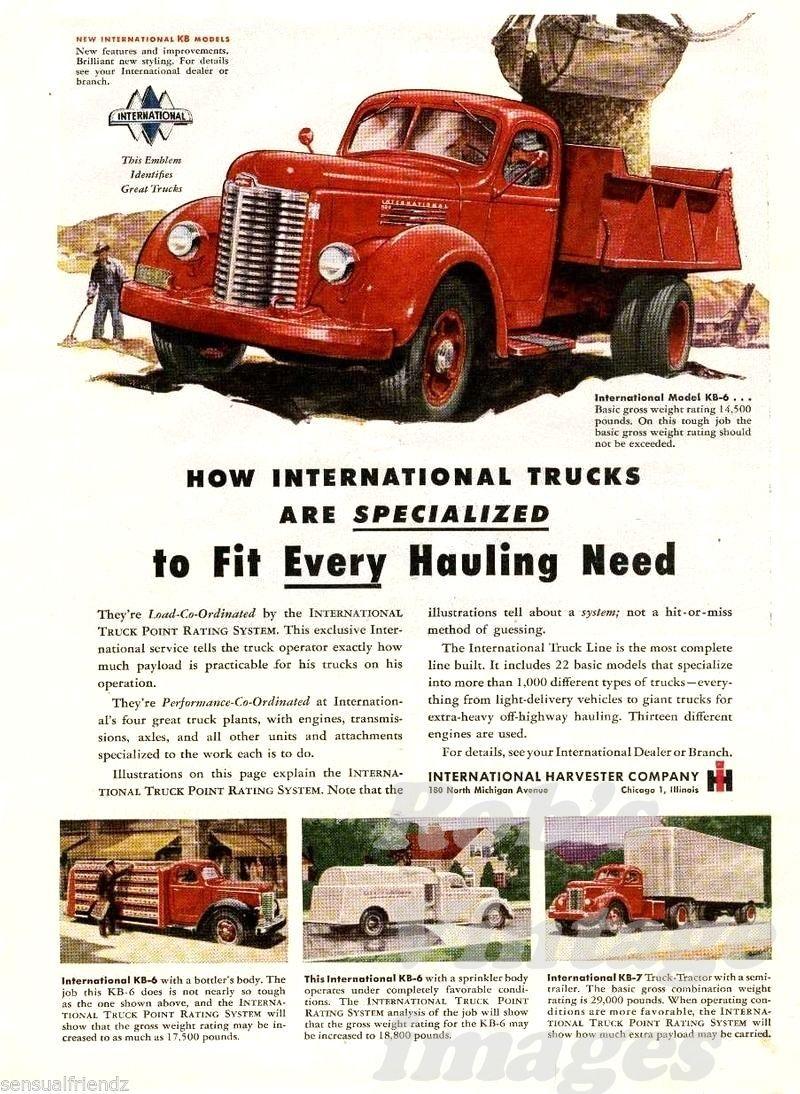 International Truck KB IH  International Harvester 1947 Ad Poster photo print - $7.93