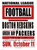 Green Bay Packers vs Boston Redskins Poster 1936 NFL Vintage Football Lg... - $14.96