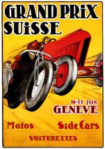 Swiss Grand Prix  Automobile Motorcycle Racing Art Poster 1920s Geneva 1... - $17.81