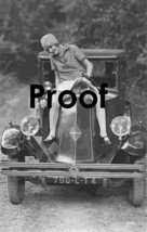 French Teasing  Naughty Sassy Girl Photo Antique Automobile Car   1910-20's - $9.89
